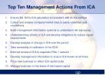 top ten management actions from ica