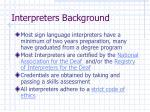 interpreters background