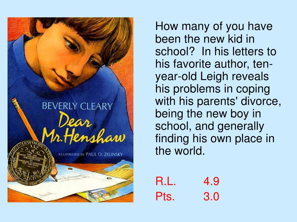 How many of you have been the new kid in school?  In his letters to his favorite author, ten-year-old Leigh reveals his problems in coping with his parents' divorce, being the new boy in school, and generally finding his own place in the world.