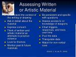 assessing written or artistic material