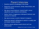 parent interview