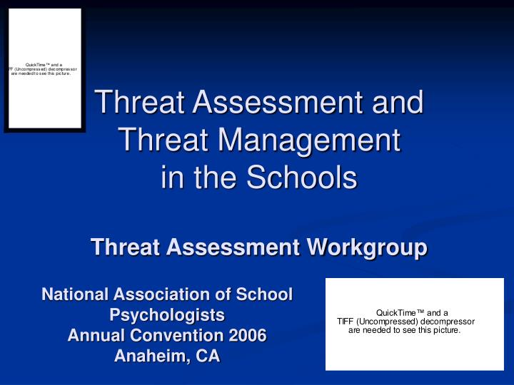 threat assessment and threat management in the schools threat assessment workgroup n.
