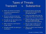 types of threats transient v substantive
