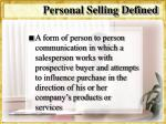 personal selling defined