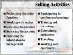 selling activities