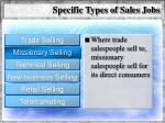 specific types of sales jobs57