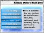 specific types of sales jobs59