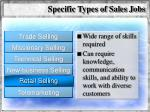 specific types of sales jobs60
