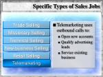 specific types of sales jobs61
