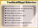 unethical illegal behaviors