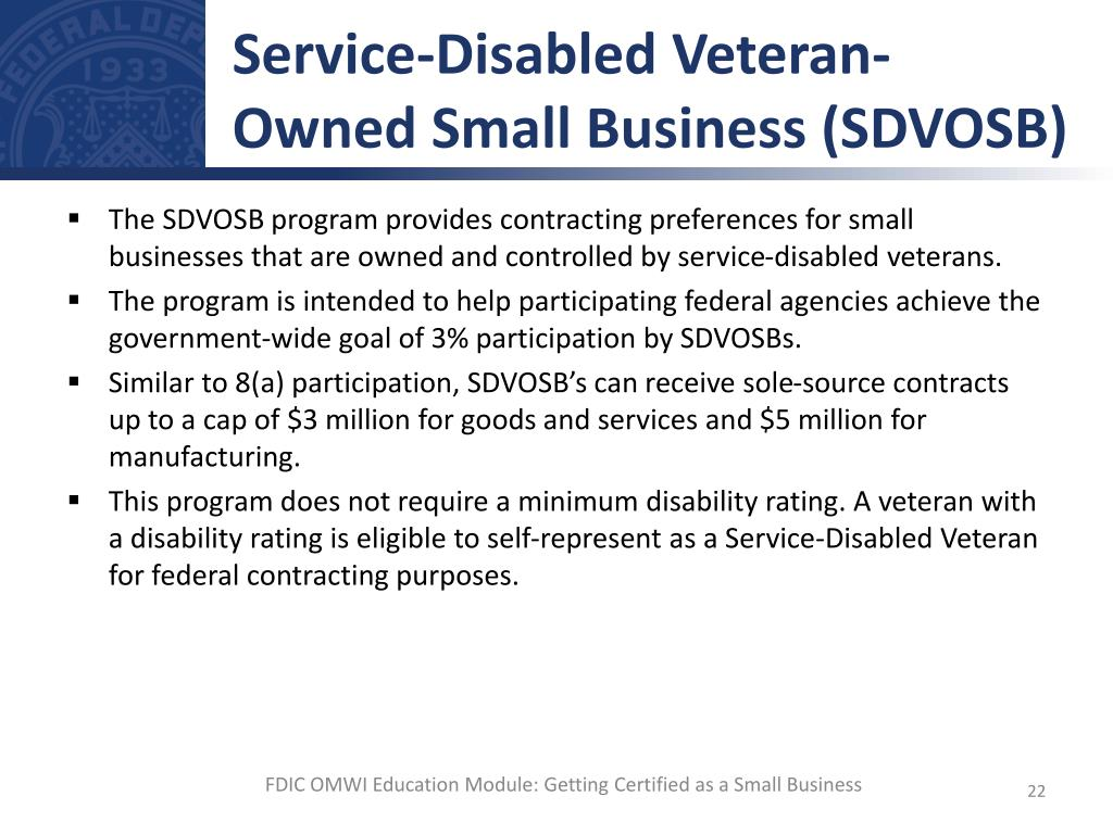 Ppt getting certified as a small business powerpoint service disabled veteran owned small business sdvosb xflitez Gallery