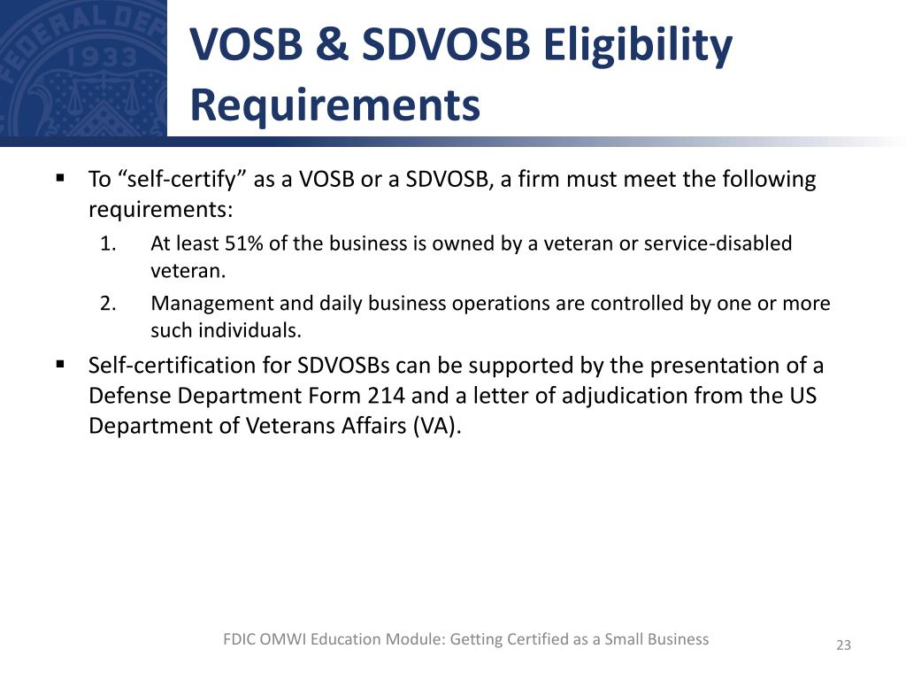 Ppt getting certified as a small business powerpoint vosb sdvosb eligibility requirements xflitez Gallery