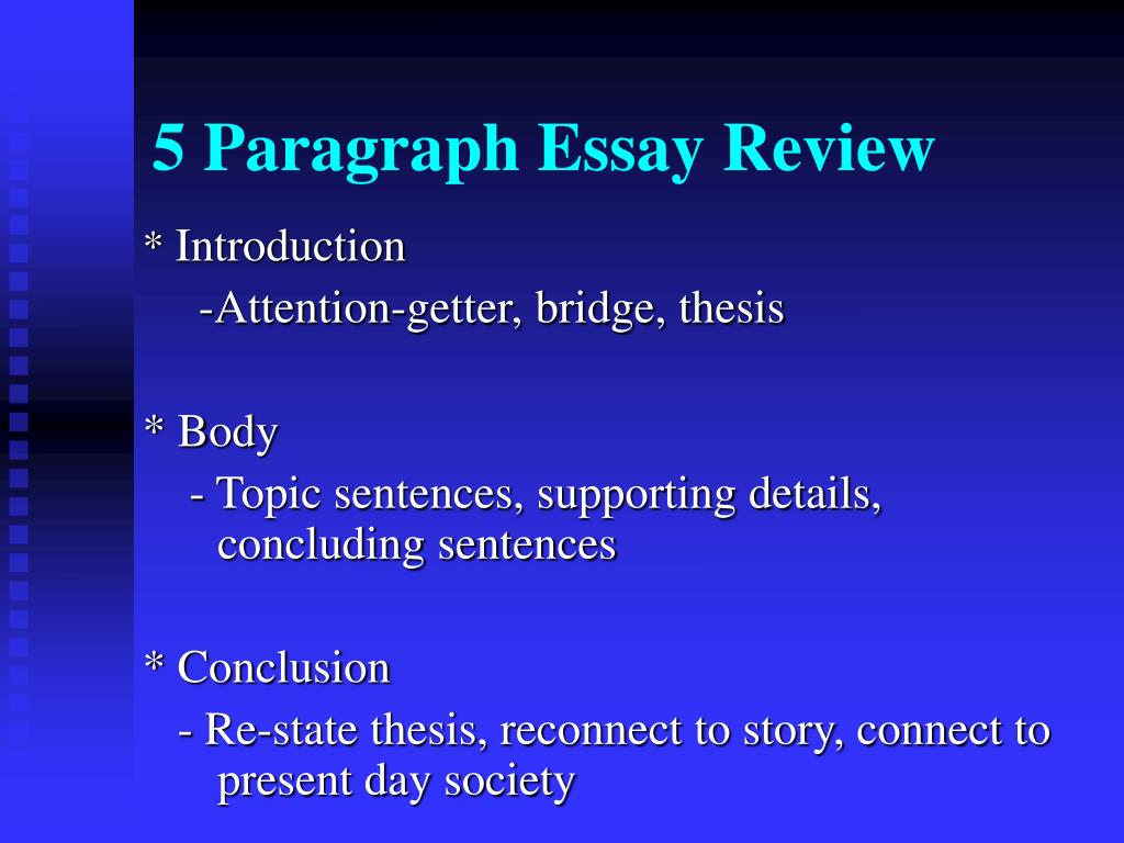 write 5 paragraph essay thesis