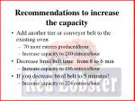 recommendations to increase the capacity