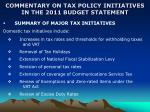 commentary on tax policy initiatives in the 2011 budget statement