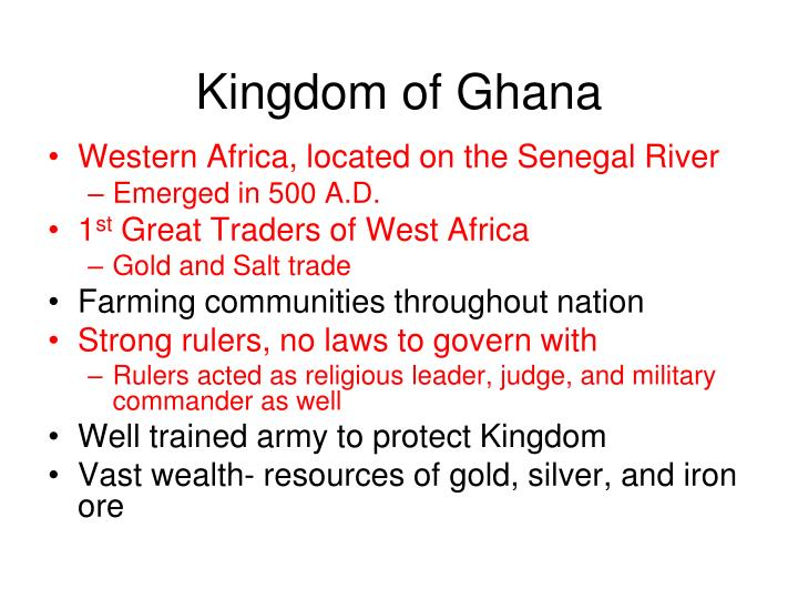 three west african kingdoms essay example You will write a focused essay about the effect of geography and islam on the west african kingdoms during the middle ages (medieval time period) you must help your reader understand the specifics of west african geography and resources, how they impacted the growth of the west african kingdoms, and how islam affected the wealth, power, and.