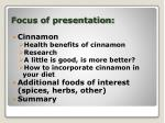 focus of presentation