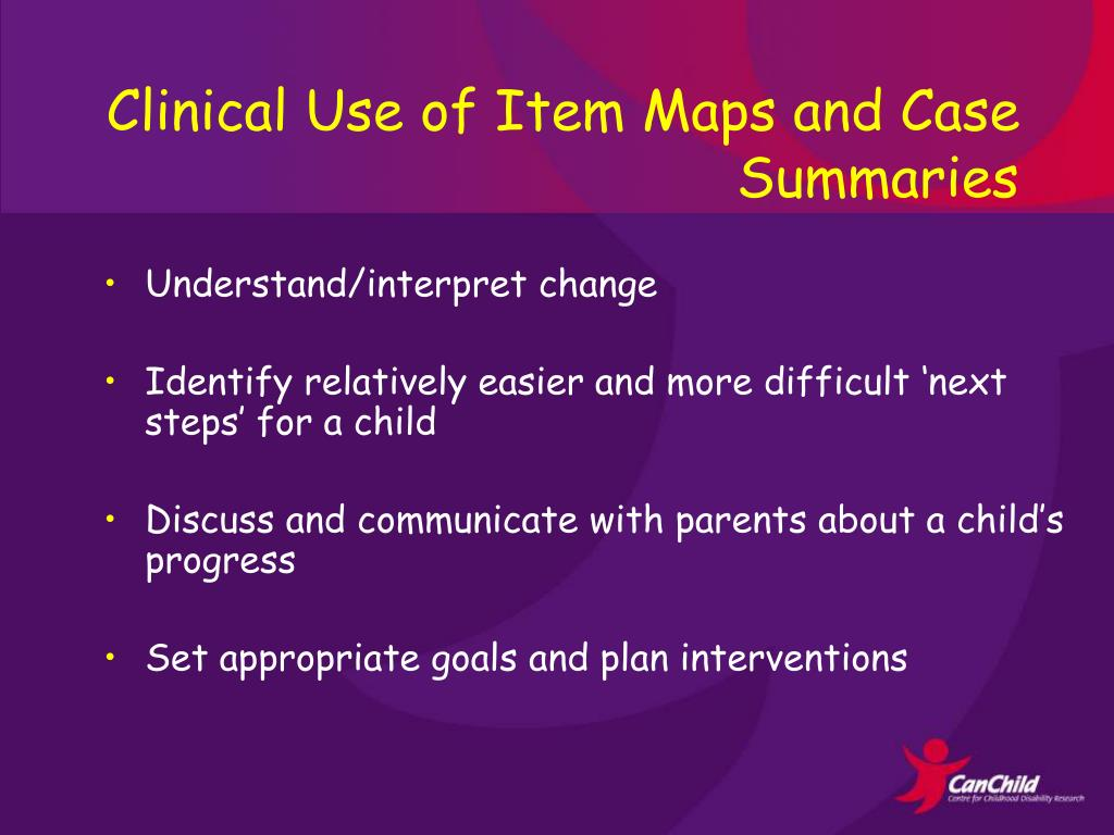 Clinical Use of Item Maps and Case Summaries