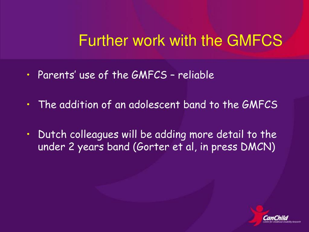 Further work with the GMFCS