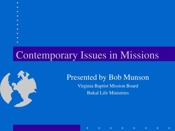 contemporary issues in missions n.