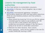 listeria risk management by food authorities