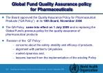 global fund quality assurance policy for pharmaceuticals