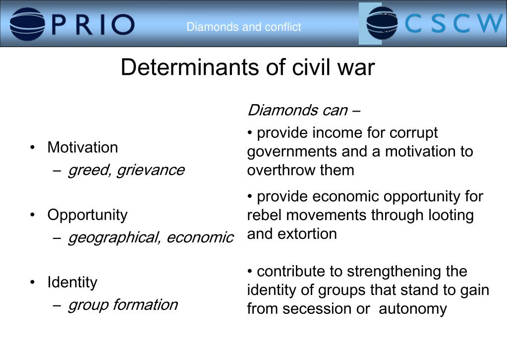 Determinants of civil war