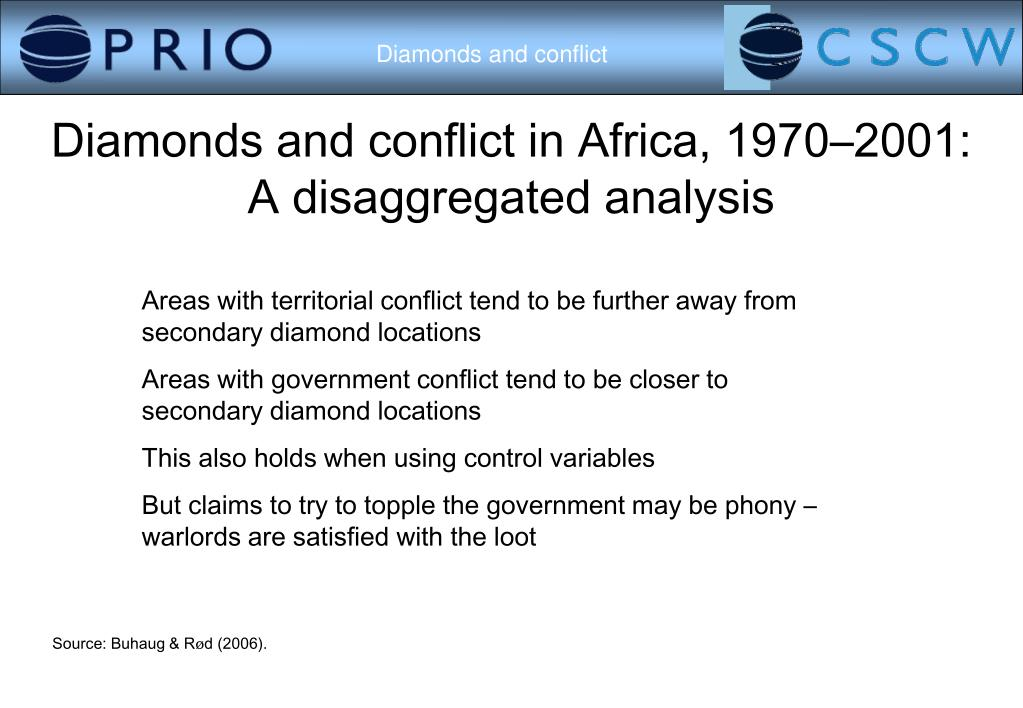 Diamonds and conflict in Africa, 1970–2001: