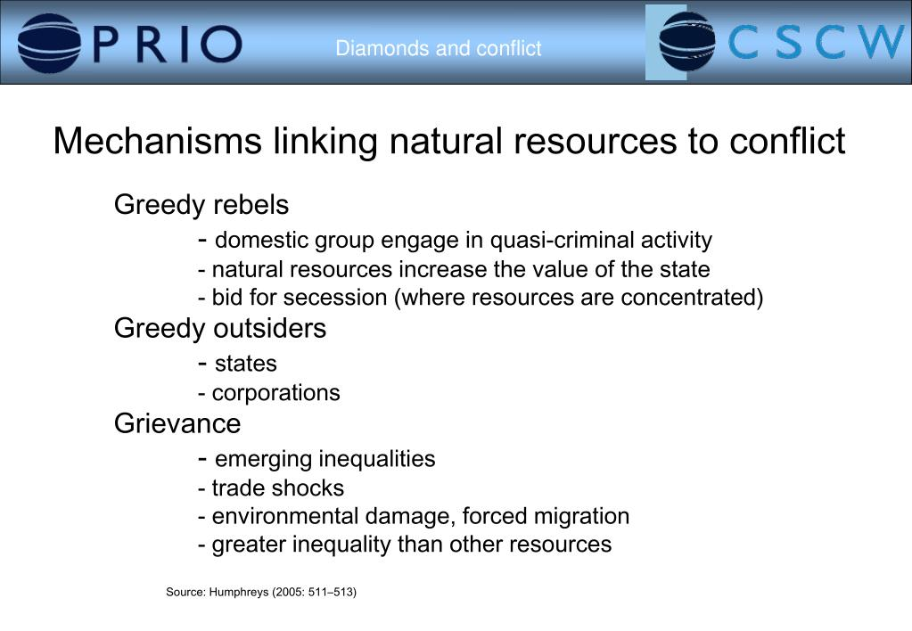 Mechanisms linking natural resources to conflict