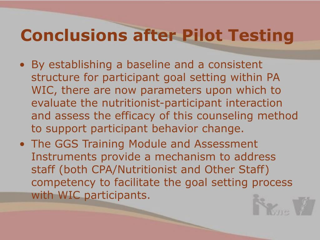 Conclusions after Pilot Testing