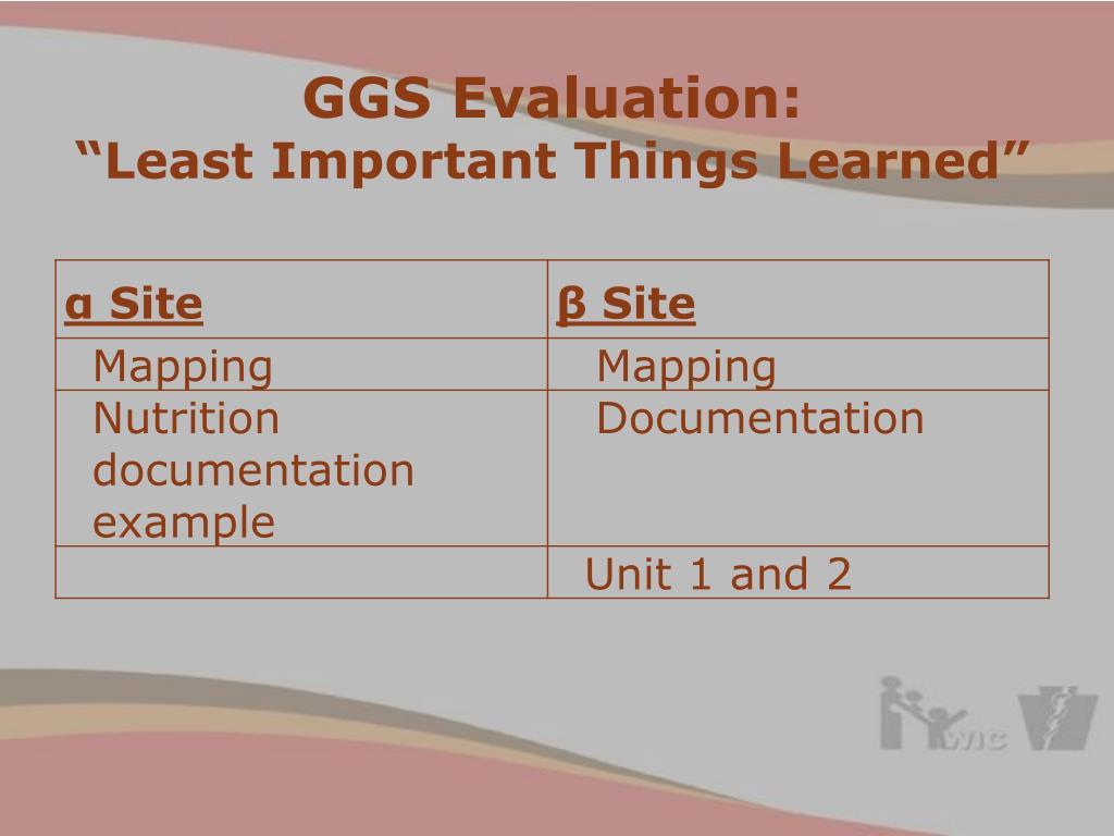GGS Evaluation: