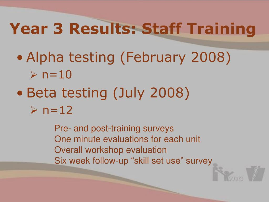 Year 3 Results: Staff Training