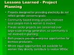 lessons learned project planning
