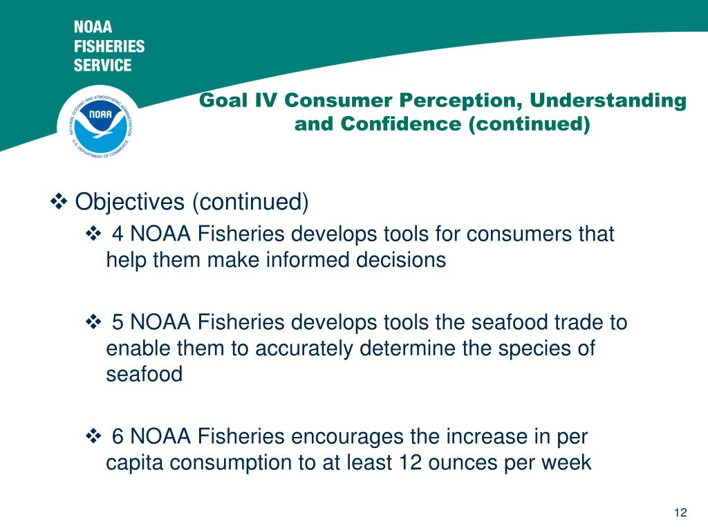 Goal IV Consumer Perception, Understanding and Confidence (continued)