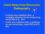 client dose from panoramic radiography