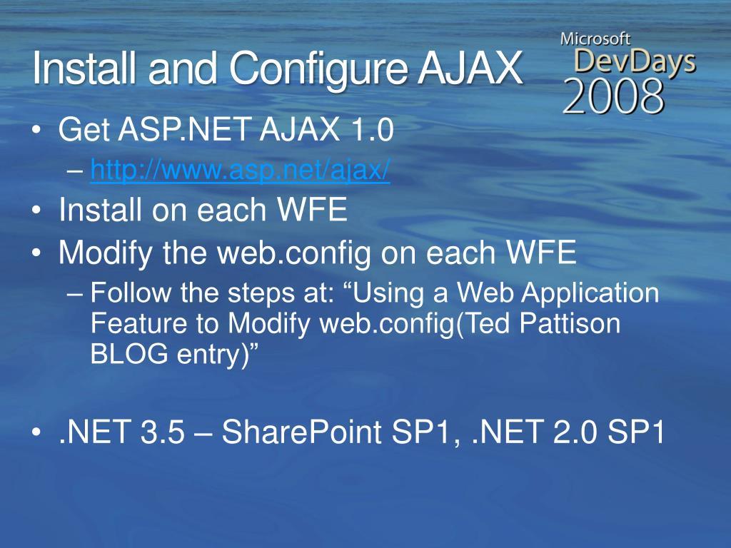 Install and Configure AJAX