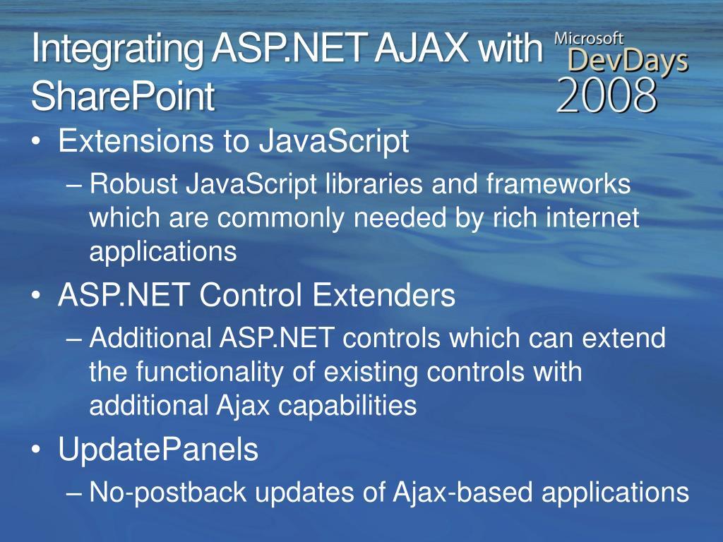 Integrating ASP.NET AJAX with SharePoint
