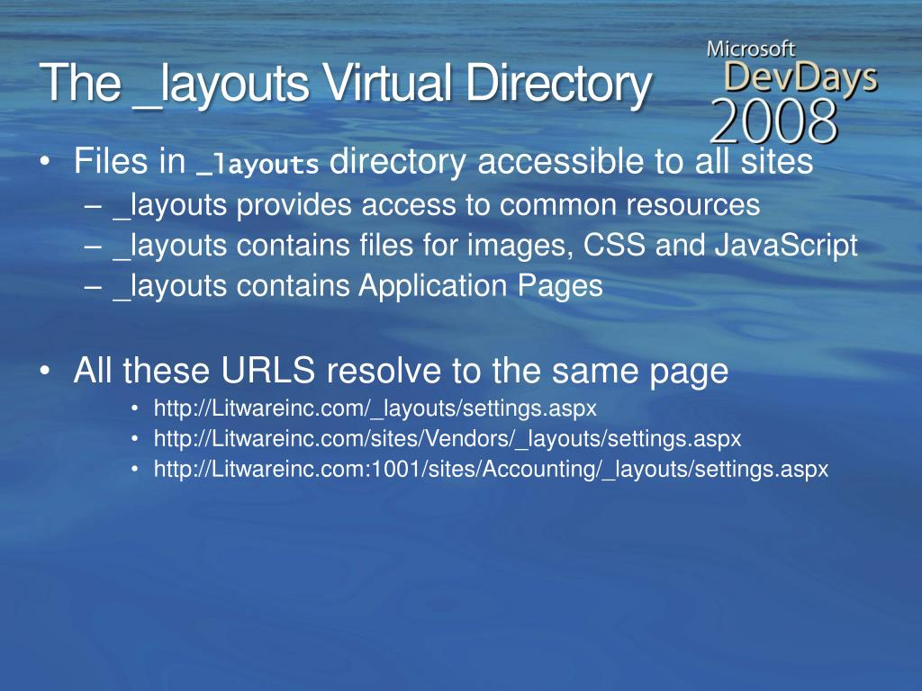 The _layouts Virtual Directory