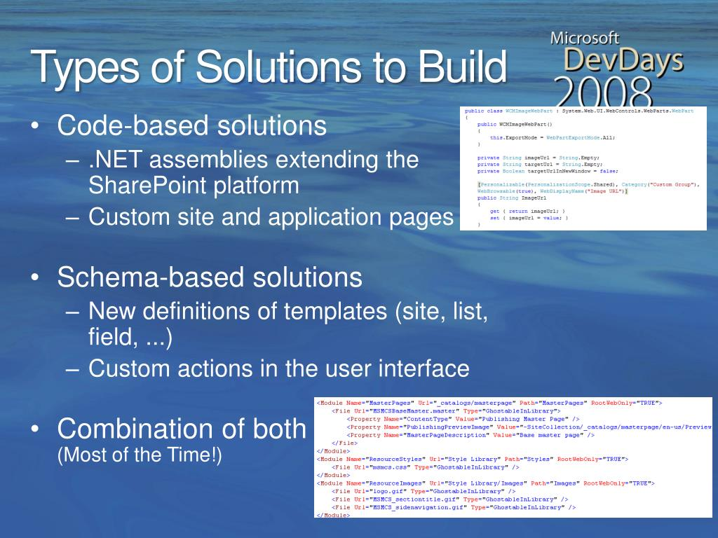 Types of Solutions to Build