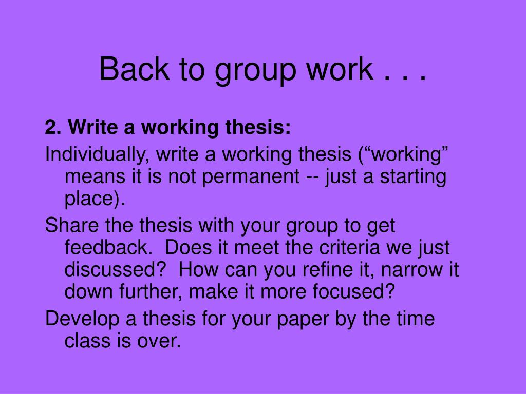 Back to group work . . .