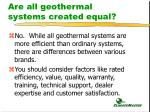 are all geothermal systems created equal