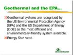 geothermal and the epa