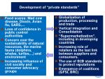 development of private standards