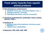 food safety hazards from aquatic animal products