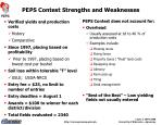 peps contest strengths and weaknesses