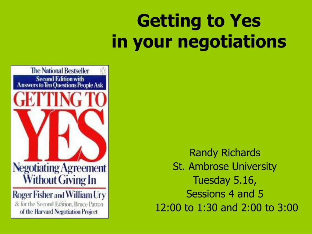 getting to yes in your negotiations l.