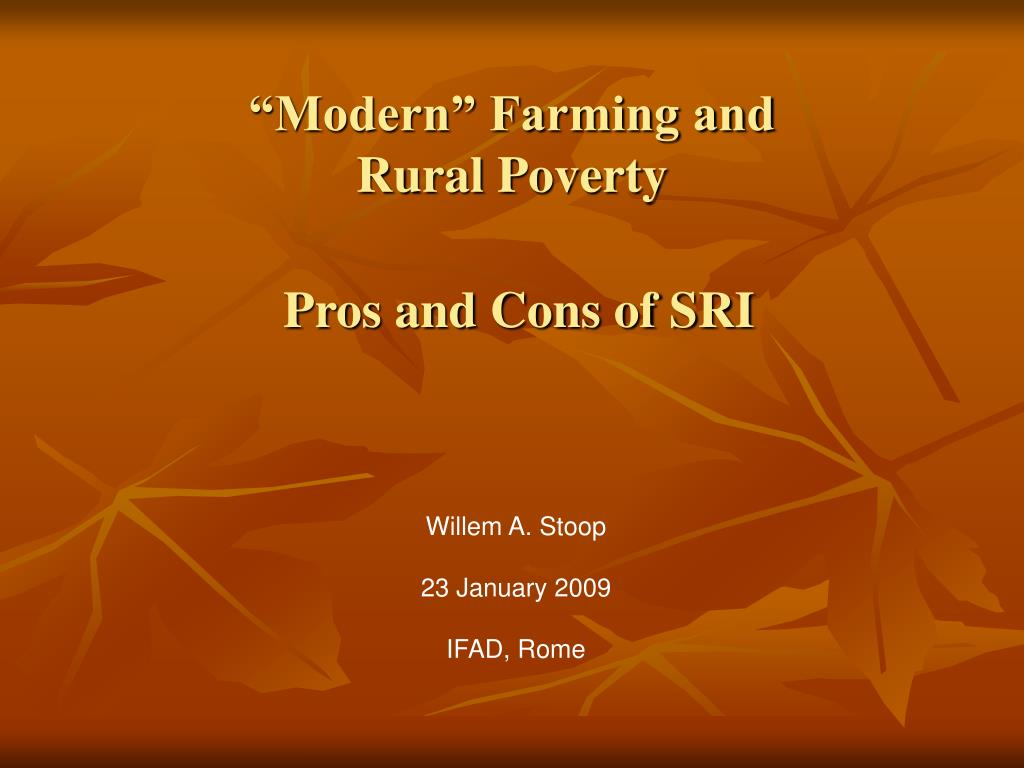 modern farming and rural poverty pros and cons of sri l.