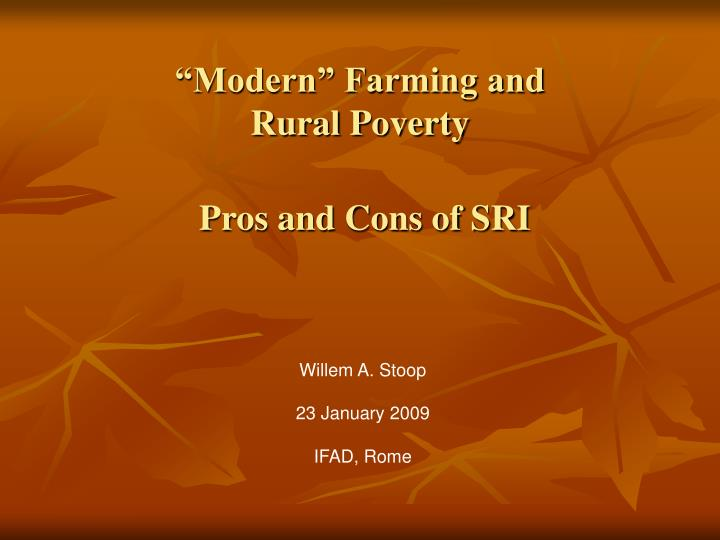 modern farming and rural poverty pros and cons of sri n.