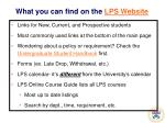 what you can find on the lps website