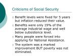 criticisms of social security